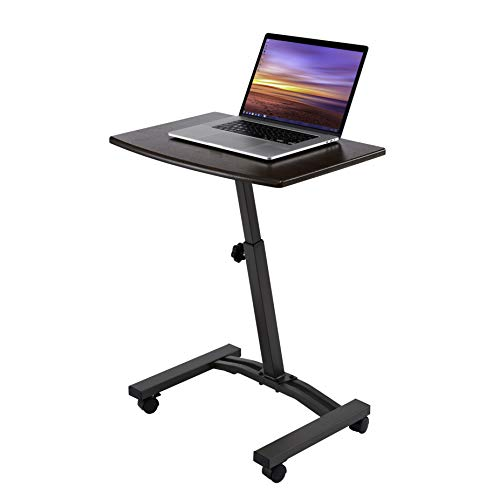 Seville Classics Height Adjustable Sitting Mobile Laptop Desk Cart Ergonomic Table, Flat (23.6'), Walnut