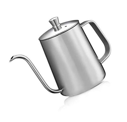 DELERKE Kaffeekessel 304 Edelstahl, Kaffeekanne Teekanne Kaffee Kettle mit Schwanenhals Schmaler Auslauf, handgefertigte Kaffeekanne mit Deckel Kaffee Tea Silber (12 Ounces, 350ml)