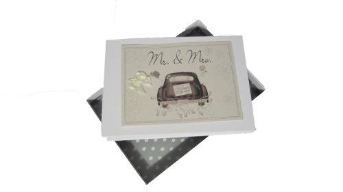 Witte Cotton Cards Mr and Mrs bruiloft tiny fotoalbum bruiloft auto range