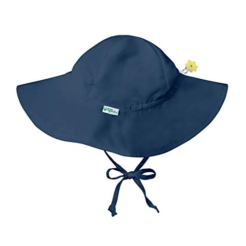 i play. by green sprouts baby-girls Brim Sun Protection Hat | All-day Upf 50+ Sun Protection for Head, Neck, & Eyes,Navy,0-6 Months