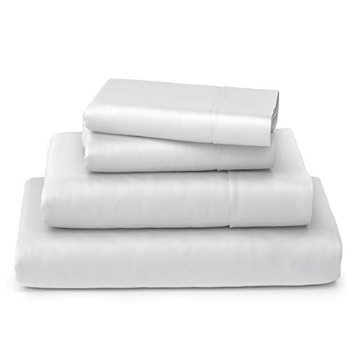 Cosy House Collection Luxury Bamboo Sheets - Hypoallergenic Bedding Blend from Natural Bamboo Fiber - Resists Wrinkles - 4 Piece Bed Sheet Set - 1 Fitted Sheet, 1 Flat, 2 Pillowcases - Queen, White