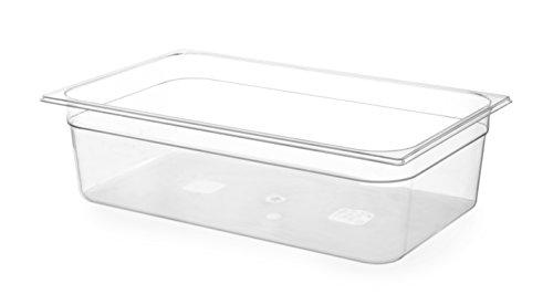 HENDI Gastronormbehälter, Temperaturbeständig von -40° bis 110°C, Skalierung, Geruchs- und geschmackneutral, 28L, Polycarbonat, GN 1/1, 530x325xf(H)200mm, Transparent