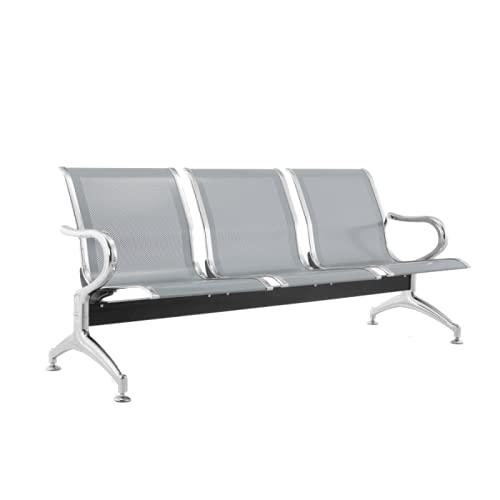 Panca 3 posti acciaio 183x45x95 argento sala d'attesa - FBasic | Panchina con braccioli