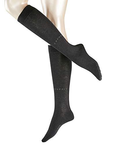 ESPRIT Damen Kniestrümpfe Basic Pure - Baumwollmischung, 1 Paar, Grau (Anthracite Melange 3080), Größe: 39-42