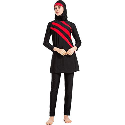 Grsafety Mujeres Musulmanas Traje de baño - 3 Piezas Modeste Burkini Completa Muslim Swimwear con Hijab Burqini Beachwear Tankini, Negro-Rojo, M