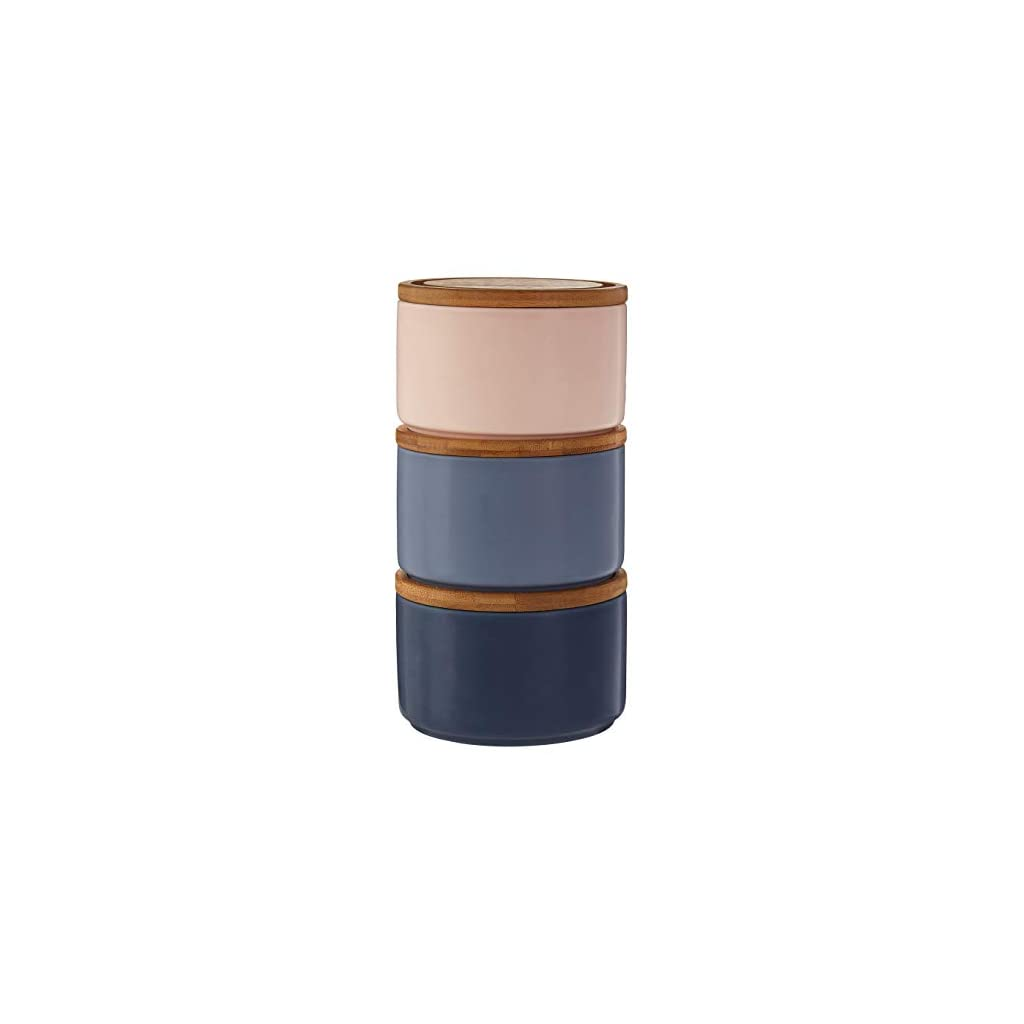 Premier Housewares Dolomite and Bamboo Canisters - Blue/Pink