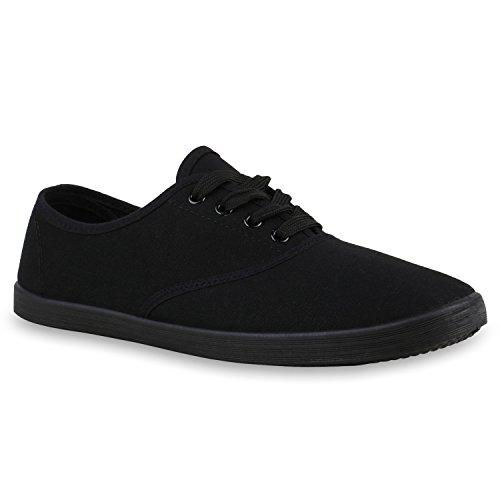 stiefelparadies Sportliche Damen Herren Sneakers Unisex Basic Freizeit Schnürer Stoff Prints viele Farben Schuhe 123811 Schwarz Schwarz 44 Flandell