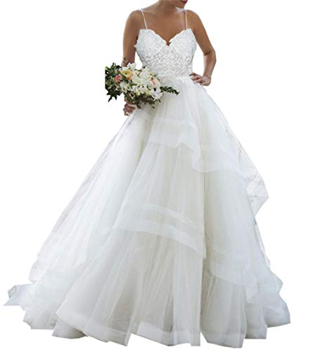Brautkleid Lang Hochzeitskleider Damen Volants V-Ausschnitt Spitze Brautmode A Linie Rückenfrei mit Spaghettiträger Weiß EUR42