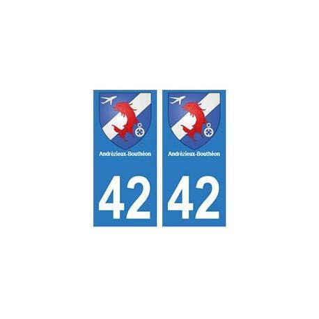 42 Andrézieux-Bouthéon autocollant plaque blason armoiries stickers département - droits