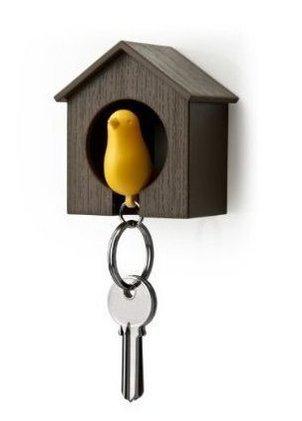 NiceButy Cute Llavero–marrón casa pájaro Amarillo