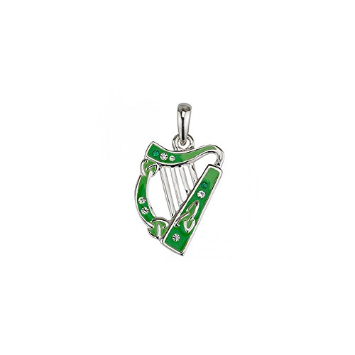 Solvar Irish Harp Necklace Lucky Rhodium Plating & Enamel Made in Ireland