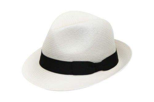 DH Chapeau pour Homme compacte Authentique Panama Fedora Chapeau avec Bande Noire (L)