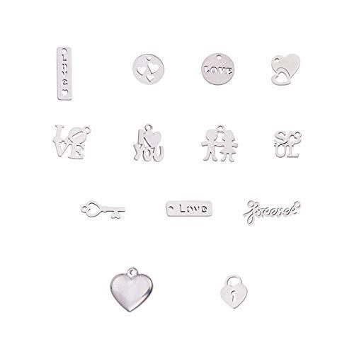 UNICRAFTALE 13種 混合形状チャーム 304ステンレス製金属ペンダント ハート 文字LOVE ロック 長方形 円形 愛情シリーズ 可愛い ステンレス鋼色 メタルチャーム 垂れ飾り ネックレスパーツ ジュエリー作り ネックレスブレスレットイヤリン
