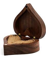 Hjärta valnöt trä ringlåda – förslag förlovningsringhållare smycken trälåda ring