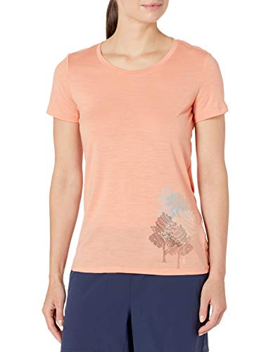 Icebreaker Tech Lite SS Low Crewe Through The Forest First Layers pour Femme S Rose