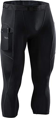 TSLA Men's 3/4 Compression Pants, Running Workout Tights, Cool Dry Capri Athletic Leggings, Yoga Gym Base Layer, Athletic Pocket(muc48) - Black, Large
