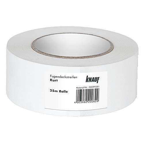 Knauf Fugen-Deckstreifen Kurt, reißfester Bewehrungs-Streifen zur Verspachtelung von Gipskarton-Platten / Gipsfaser-Platten: Faserband mit hoher Festigkeit, 25-m