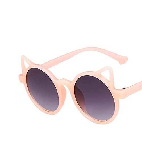 Gafas de sol para niños, diseño de orejas de gato, color rojo, negro y rojo, para niños, para bebés, redondas, para fiestas al aire libre (color del marco: multicolor, color de las lentes: rosa)