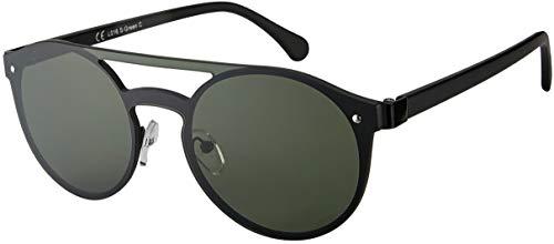 La Optica B.L.M. Herren Sonnenbrille UV400 CAT 3 Damen Sonnenbrille Rund Monoscheibe - Einzelpack Metall Schwarz (Gläser: Grün klassisch)