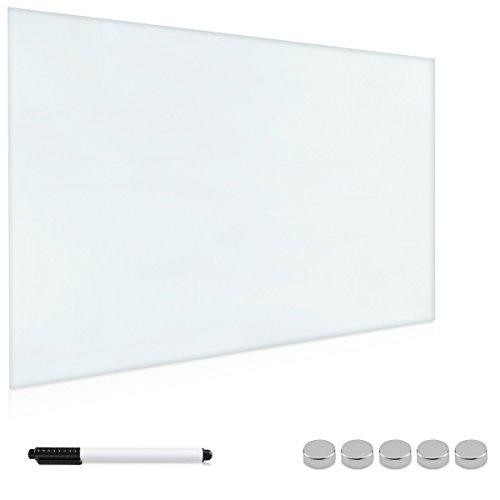 Navaris Magnettafel Magnetboard aus Glas - 90x60 cm Tafel magnetisch zum Beschriften - Magnetwand in Weiß - inkl. Magnete Stift Halterung