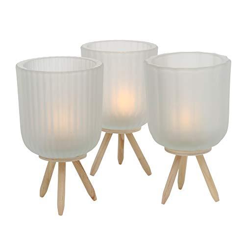 Boltze 3 x Windlicht Danteo Glas Weiß Höhe 15 cm, Tischdeko, Geschenk, Beleuchtung