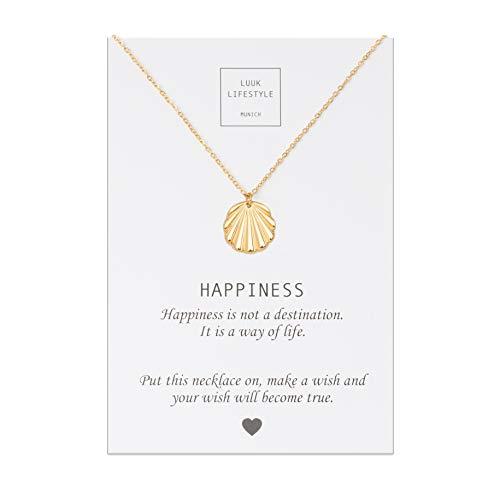 LUUK LIFESTYLE Roestvrijstalen kettingen met verschillende hangers en Happiness, groetkaart, geluksbrenger, vriendschapsketting, geschenk, damesjuwelen, zilver, goud, rozengoud