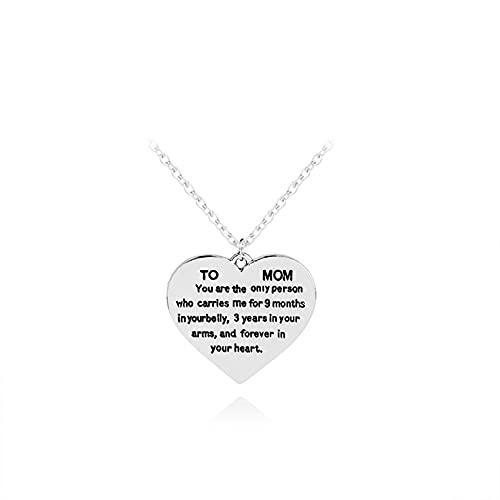 SMEJS Collar de corazón de amor de plata, Día de la madre de Acción de Gracias Confesión de letras a las madres Collar con colgante en forma de corazón Regalo