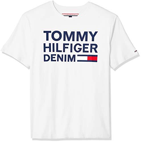 Tommy Hilfiger Men's THD Short Sleeve Logo T Shirt, Bright White, LG