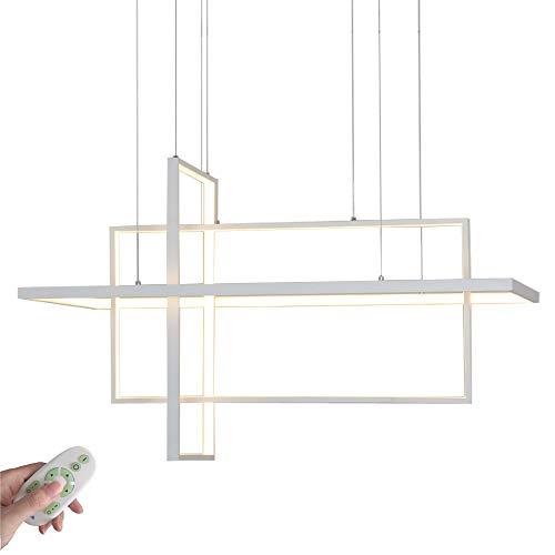 LED 3 Anneau Suspension Lumière pendante Dimmable avec télécommande 118W Lustre Moderne Rectangle Désign Lampe suspendue pour Salle de séjour Chambre à coucher Cuisine Salle à manger Bar, Blanc, L85CM