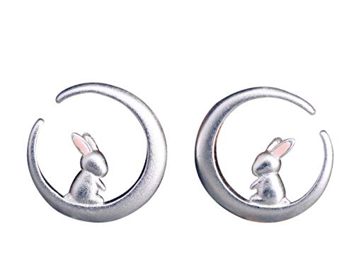 NicoWerk Damen Silber Ohrstecker Hase aus 925 Sterling Silber Kaninchen Tier Matt Mond Rund SOS274