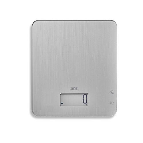 ADE digitale keukenweegschaal KE 1713 Cleo. Elektronische weegschaal in tijdloos design voor elke keuken. Nauwkeurig wegen tot 5 kg, ook voor vloeistoffen. Tara, lcd-display. Incl. batterij.