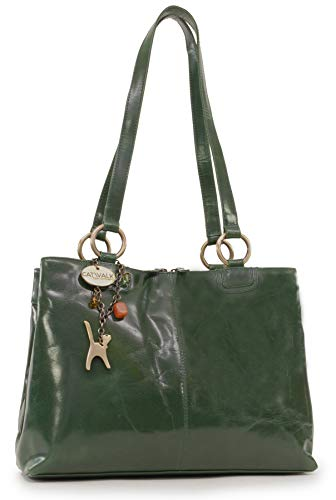 CATWALK COLLECTION - BELLSTONE - Bolso al hombro estilo shopper - Cuero vintage - Grande - Verde