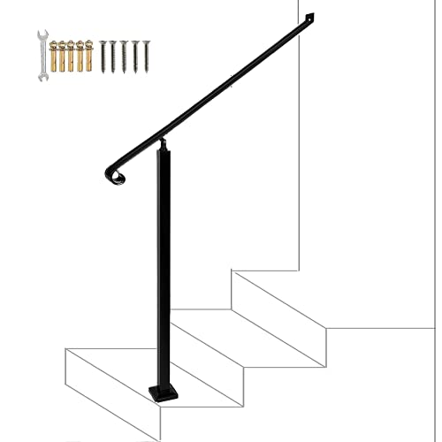 Handrails for Outdoor Steps 2-3 Step Handrail,Wall&Floor Mounted Wrought Iron Handrails Stair Rail with Installation Kit Hand Rail for Outdoors Steps