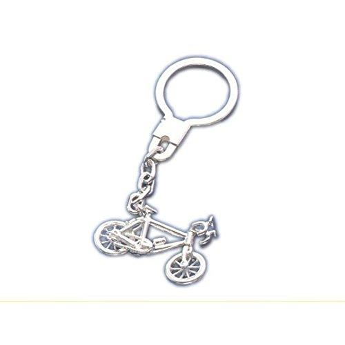 Llavero con motivo bicicleta de carreras de plata de ley 925