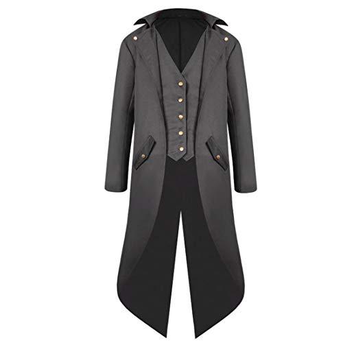Herren Steampunk Mantel Mode Jacke Vintage Mittelalter Viktorianischen Kostüm Frack Tailcoat Steampunk Mantel Gothic Retro Jacke Uniform Halloween Kostüm Karneval Vampir Cosplay Mantel XL