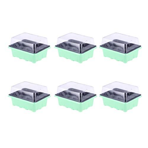 Yarnow 12-Zellen-Samen-Starterschalen - Pflanzensamen-Vermehrungs-Aufzuchttopf/Pflanzensamen-Schale Zuchtschalen mit Feuchtigkeitskuppel Und Zelleinsatz (Grün)