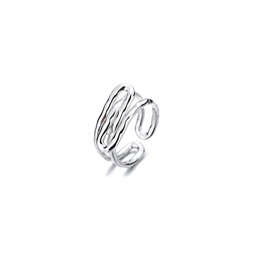 CRYPIN 925 sterling silver European and American ring female personality tide opening adjustable simple wild ins cold wind ring bracelet