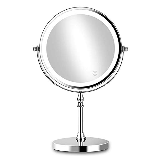 ACOLAR 8in Lighted Makeup Mirror 10x Magnification Makeup Mirror with Lights Double Sided Round Mirror with 27pcs LED,Powered by 4xAAA Batteries(Not Included)