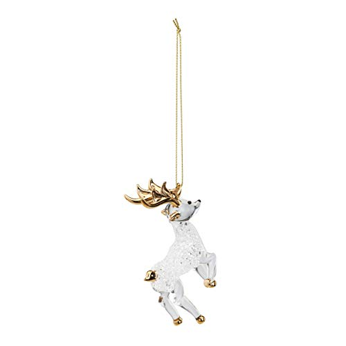 DEMDACO Reindeer Goldtone Antlers 2.5 x 4 Inch Spun Glass Hanging Christmas Ornament