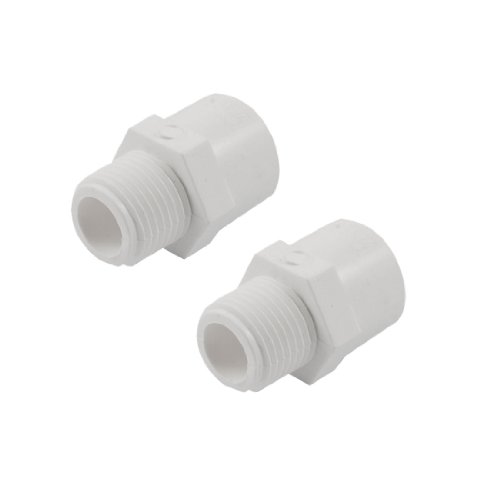 sourcing map Lot de 2 1/5,1 cm PT filetage mâle tuyaux en PVC Tube Adaptateur Connecteurs