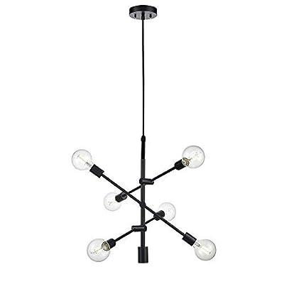 BOWRAIN 6 Lights Matte Black Chandelier Light Fixture Contemporary Sputnik Pendant Light Modern Flush Mount Hanging Lamp for Dining Kitchen Island Bedroom Lighting