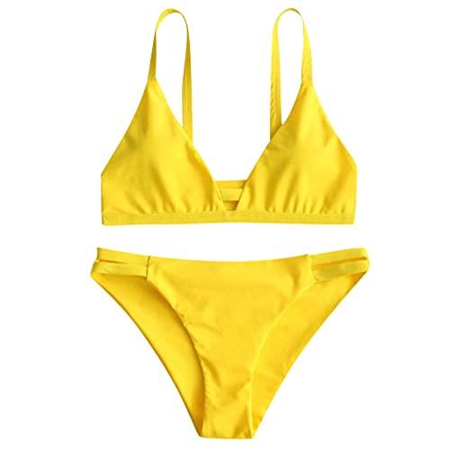 GPQHSM Bikini Mujeres sólido Vendaje Superior del Bikini Empuja hacia Arriba el Sujetador con Relleno Bralette Traje de baño Ropa de Playa Piscina de Verano Sujetador Sujetador de baño