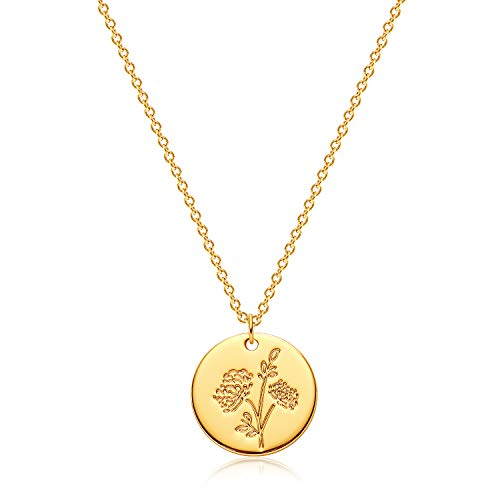 MEVECCO Birth Flower Necklace 18k Gold Engraved Custom Floral Pendant Necklaces Dainty Birth Month Flower Disc Charm Hand Stamped Flower Disk Necklace Personalized Jewelry Birthday Gift for Her