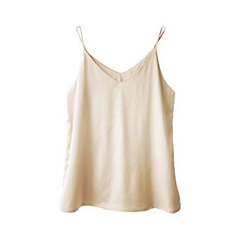 Wantschun Womens Silk Satin Camisole Cami Plain Strappy Vest Top T-Shirt Blouse Tank Shirt V-Neck Spaghetti Strap US Size L;Champagne