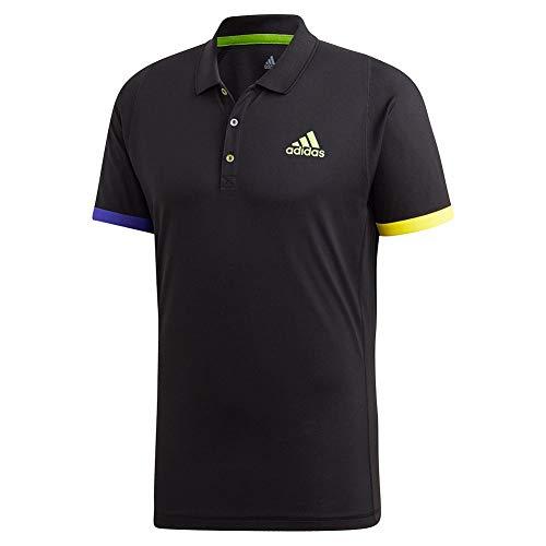 adidas Herren Limited Edition Tennis Shirt Polo, Schwarz/Semi Solar Grün, X-Large