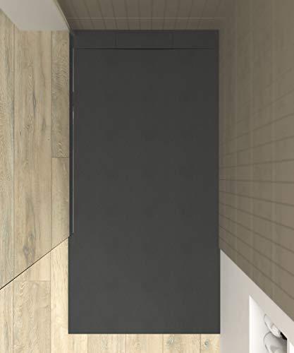 VAROBATH - Plato de ducha de Resina PLASTER Grafito - Textura pizarra, mineral, antideslizante y antibacteriano. Fabricado en España. (70x120)