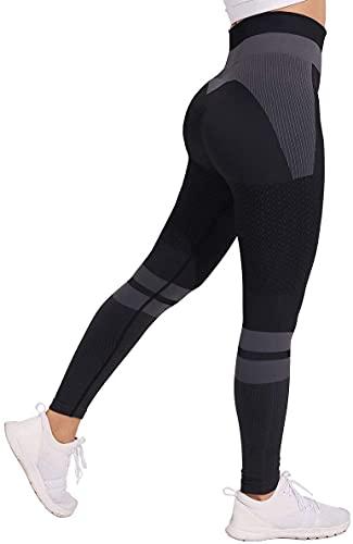 JFAN Pantalones de Yoga Súper Elásticos Cintura Alta para Mujer Mallas de Yoga Costuras con Control de Abdomen para Entrenamiento de Gimnasio