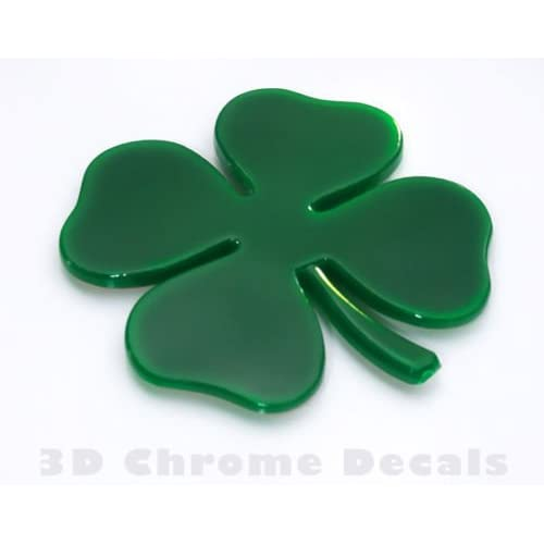 2 x 3D 4-Leaf Lucky Clover Metal Badge for Cars Camper Motorbikes Irish Green