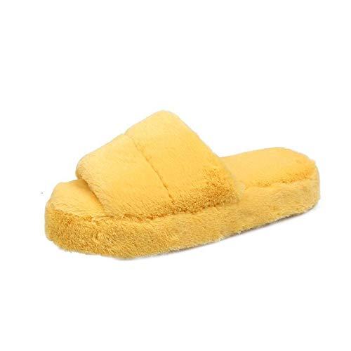 Pantuflas de Interior para Invierno,Zapatillas de algodón Desodorante Antideslizante de Suela Suave para Interiores, Zapatillas de Felpa de algodón para el hogar para otoño e Invierno-Amarillo_36-37,