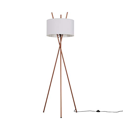 Modern Copper Metal Crossover Design Tripod Floor Lamp with a Pale Grey Cylinder Shade